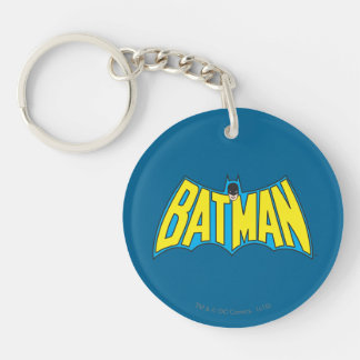Batman | Vintage Yellow Blue Logo Double-Sided Round Acrylic Key Ring