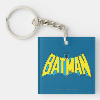 Batman | Vintage Yellow Blue Logo Double-Sided Square Acrylic Key Ring