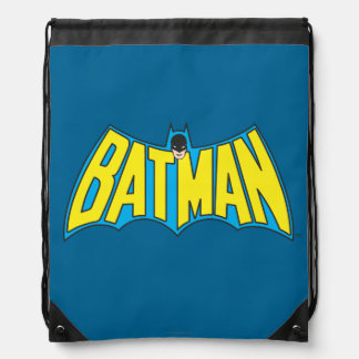Batman | Vintage Yellow Blue Logo Drawstring Bag