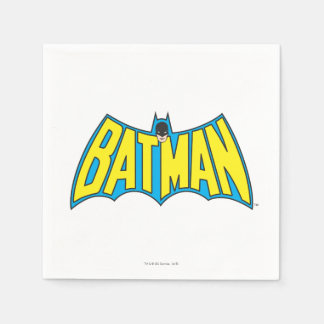 Batman | Vintage Yellow Blue Logo Paper Napkins