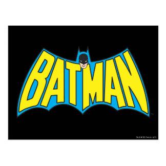 Batman   Vintage Yellow Blue Logo Postcard