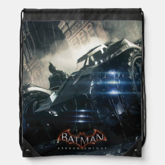 Batman With Batmobile In The Rain Drawstring Bag