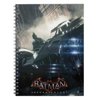 Batman With Batmobile In The Rain Notebook