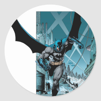 Batman with city background classic round sticker