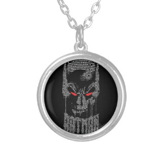 Batman With Mantra Silver Plated Necklace