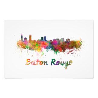 Baton Rouge skyline in watercolor Photo Print