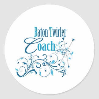 Baton Twirler Coach Swirly Classic Round Sticker