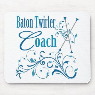 Baton Twirler Coach Swirly Mouse Pads