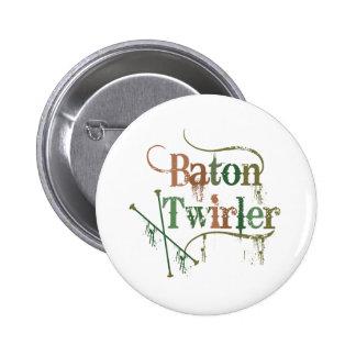 Baton Twirler Distressed 6 Cm Round Badge