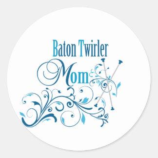 Baton Twirler Mom Swirly Round Sticker