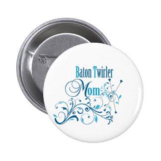 Baton Twirler Mum Swirly 6 Cm Round Badge