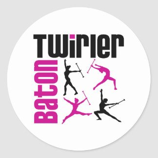 Baton Twirler Square Round Stickers