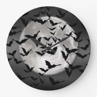 Bats and a Full Moon Large Clock