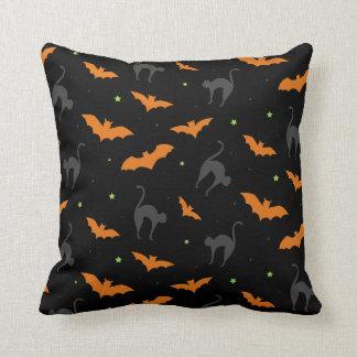 Bats and Cats Halloween Cushion