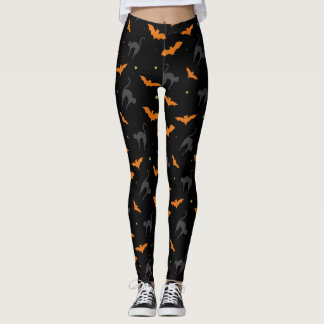 Bats and Cats Halloween Leggings