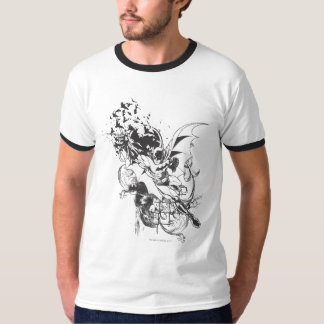 Bats and Floral Pattern T-Shirt