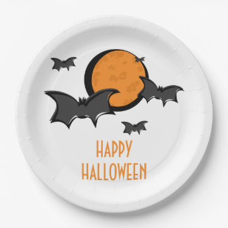 Bats and Moon Halloween Paper Plates