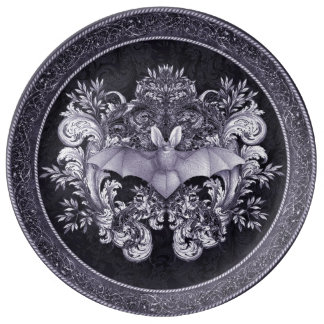 Bats and Swirls Gothic Plate Porcelain Plates