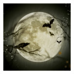 Bats fly Crow sits in Front of Halloween Full Moon Poster