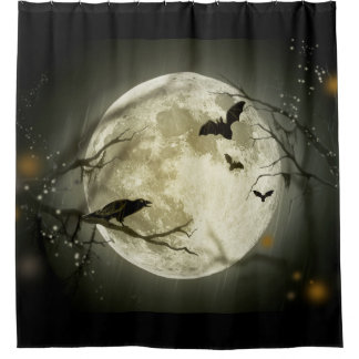 Bats fly Crow sits in Front of Halloween Full Moon Shower Curtain