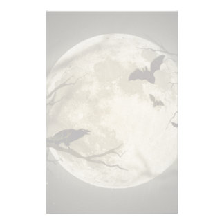 Bats fly Crow sits in Front of Halloween Full Moon Stationery
