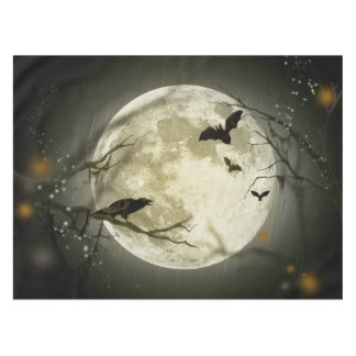 Bats fly Crow sits in Front of Halloween Full Moon Tablecloth