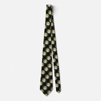 Bats fly Crow sits in Front of Halloween Full Moon Tie