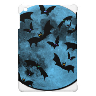 Bats Flying against Moon Halloween blue black Case For The iPad Mini