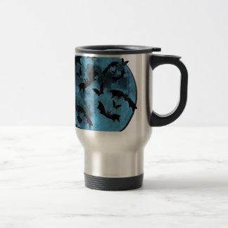 Bats Flying against Moon Halloween blue black Coffee Mugs