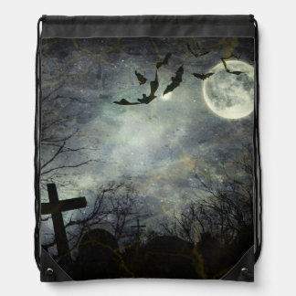 Bats flying in the night drawstring bag