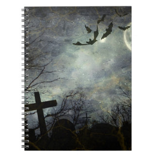 Bats flying in the night spiral notebook