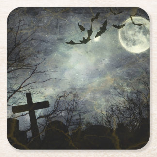 Bats flying in the night square paper coaster