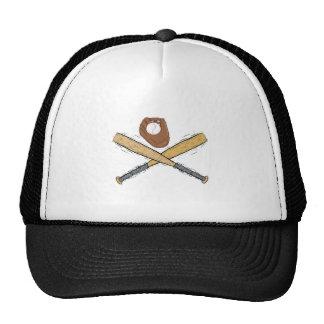 bats & glove & ball mesh hat