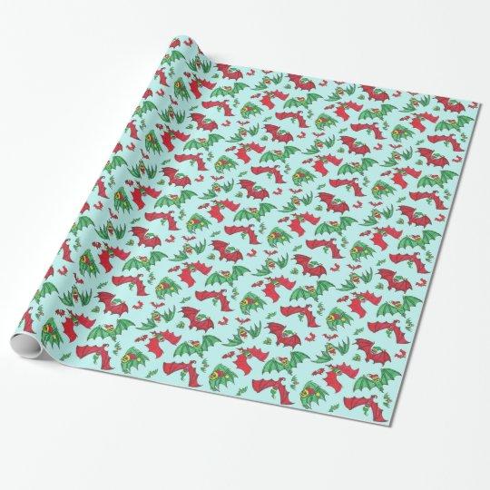 BATS IN HATS in Sky Christmas Gift Wrap