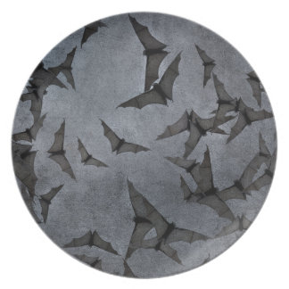 Bats In The Dark Cloudy Sky Party Plate