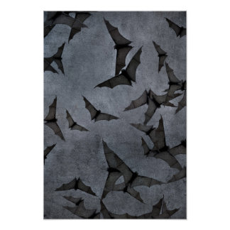 Bats In The Dark Cloudy Sky Poster
