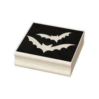 Bats on Black Halloween Rubber Art Stamp