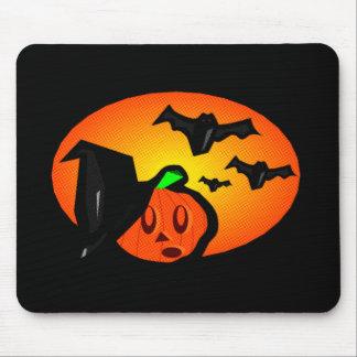 Bats & Pumpkin Jack Orange Halftone Logo Mouse Pad