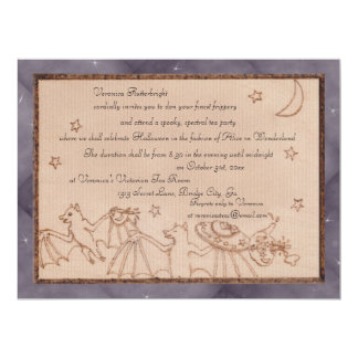 Bats Tea Party Halloween Costume Party 6.5x8.75 Paper Invitation Card