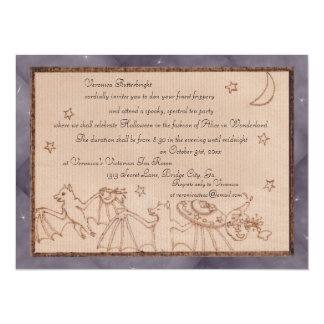 Bats Tea Party Halloween Costume Party 5.5x7.5 Paper Invitation Card