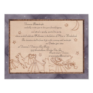 Bats Tea Party Halloween Costume Party 4.25x5.5 Paper Invitation Card