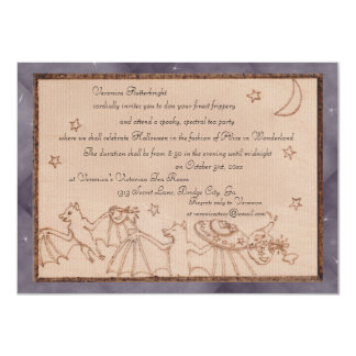 Bats Tea Party Halloween Costume Party 4.5x6.25 Paper Invitation Card