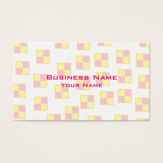 Battenburg Cake Pattern. Pink and Yellow. Business Card