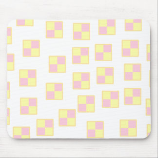 Battenburg Cake Pattern. Pink and Yellow. Mouse Mat