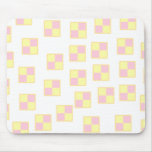 Battenburg Cake Pattern. Pink and Yellow. Mouse Pad