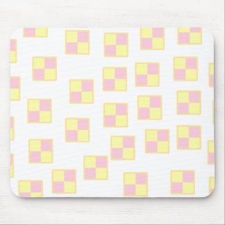 Battenburg Cake Pattern. Pink and Yellow. Mouse Pad