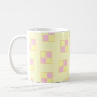 Battenburg Cake Pattern Pink and Yellow Mugs