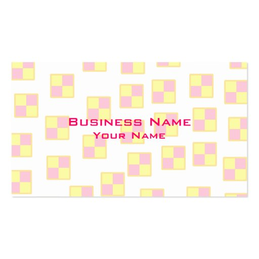 Battenburg Cake Pattern. Pink and Yellow. Pack Of Standard Business Cards