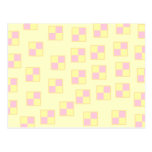 Battenburg Cake Pattern. Pink and Yellow. Post Cards