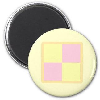Battenburg Cake. Pink and Yellow. 6 Cm Round Magnet